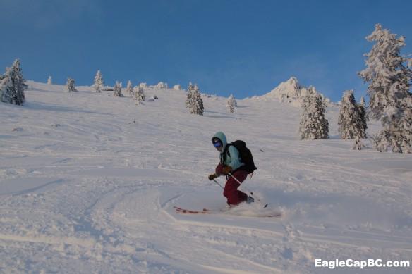 Emily skis the backside of Mt Ashland.