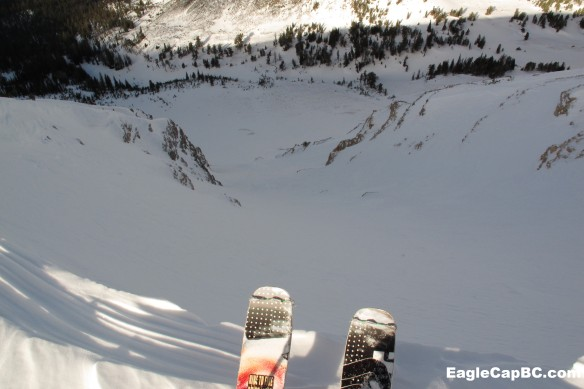 """Next up- Middle chute. Gratuitous """"ski tips in the entrance"""" shot"""