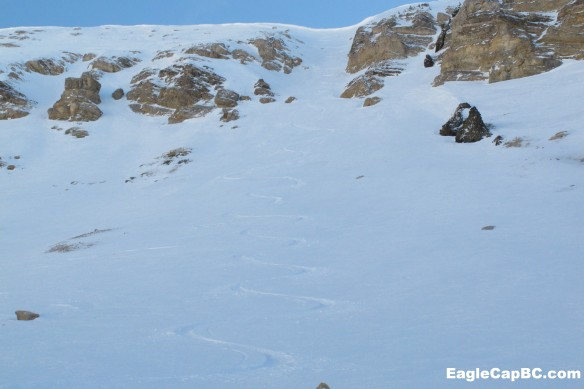 Looking up at Middle chute. Photos are pretty horrible. This north facing ridge doesn't see any sun