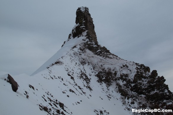 The summit spire. Maybe skiable during a monster snow year?