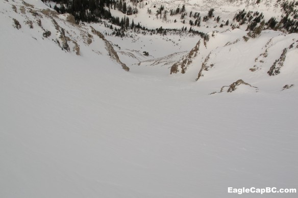 Looking into the West Chute. The snow was pretty good