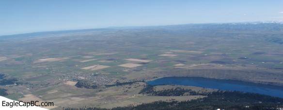 The town of Joseph on left, Wallowa Lake on the right