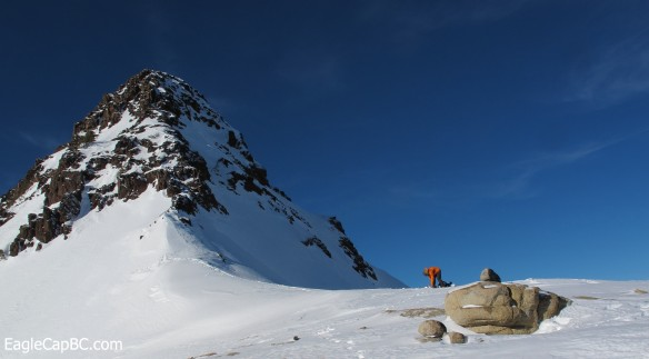 Kip at the first transition under Sawtooth's summit spire